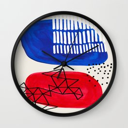 Fun Abstract Minimalist Mid Century Modern Colorful Shapes Red Blue Color Harmony Watercolor Bubbles Wall Clock