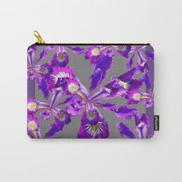 Abstract Purple Iris Floral Garden Grey  Art Carry-All Pouch