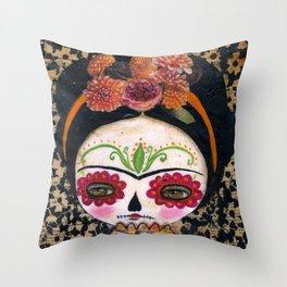 Frida The Catrina - Dia De Los Muertos Painted Skull Mixed Media Art Throw Pillow