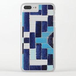 VINTAGE BLUE CERAMIC TILES Clear iPhone Case