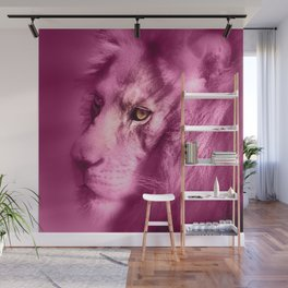 Fantasy Lion of Legend in Pink Wall Mural