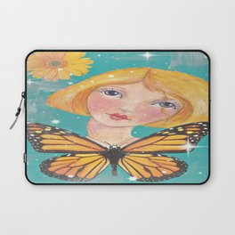 Whimiscal Girl with Butterfly Laptop Sleeve