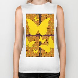 Yellow Butterflies Golden Celtic Patterns Biker Tank