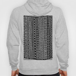 Black white hand painted geometrical aztec pattern Hoody