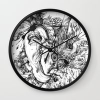 panic at the disco Wall Clocks featuring panic by Maethawee Chiraphong