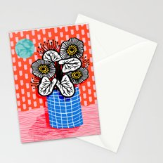 Proper - abstract minimal still life flower vase grid painted dots pattern wacka design Stationery Cards