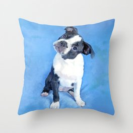 Cute Boston Terrier Puppy Painting Throw Pillow