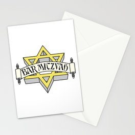 Bar Mitzvah with gold star of david Stationery Cards