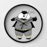 the neighbourhood Wall Clocks featuring Fat Kid Costume by pigboom el crapo