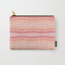 Mosaic Wavy Stripes in Peach and Pinks Carry-All Pouch
