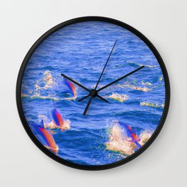 Pop Art Abstract Retro Colored Dolphin Swimming Ocean Beach Landscape Framed Lustre Wall Art Print Wall Clock