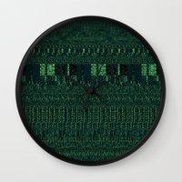 glitch Wall Clocks featuring Glitch by Pudding