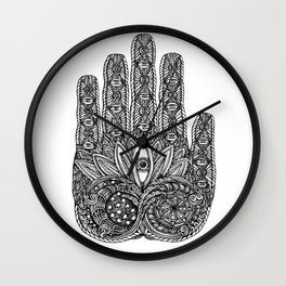 Sun and Moon Buddha Palm by Kent Chua Wall Clock