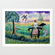 Halloween Field with Funny Scarecrow Skeleton Hand and Crows Art Print