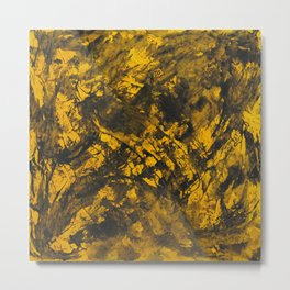 Black Ink on Yellow Background Metal Print