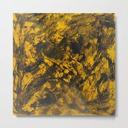 Black Ink on Yellow Background Metal Print