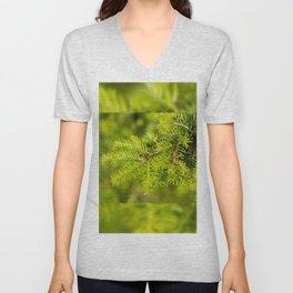 Green coniferous fresh shoots detail Unisex V-Neck