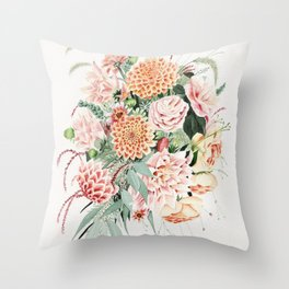 Fall Dahlia Bouquet Throw Pillow