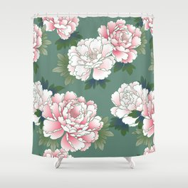 Japanese Vintage Pink Peonies Green Leaves Kimono Pattern Shower Curtain