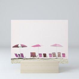 Pink and Plum Beach Umbrellas Mini Art Print