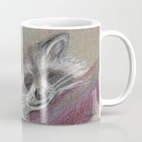 racoon Mugs featuring Racoon sleeping by Pendientera