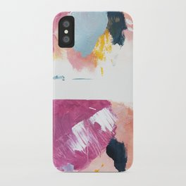 Cotton Candy: a bright, colorful abstract in pinks, blues, yellow, and white iPhone Case