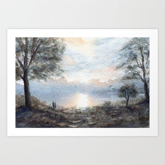 Lakeside Stroll Art Print