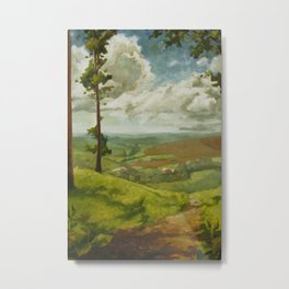 Impressionist Landscape Painting Peaceful Green Nature Countryside Sky Relaxing Metal Print