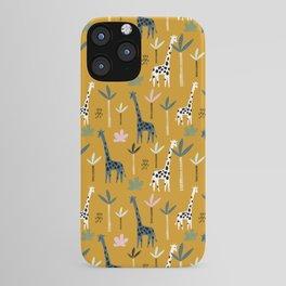 Giraffe Parade on Mustard Yellow iPhone Case