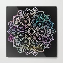 Scratchboard Mandala Metal Print