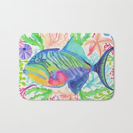 Parrot Fish & Ocean Creatures Bath Mat