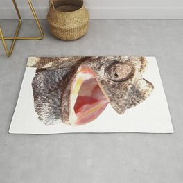 Chameleon with Happy Smiling Expression Vector Rug