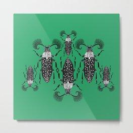 Absinthe Beetle - Seeing double green Metal Print