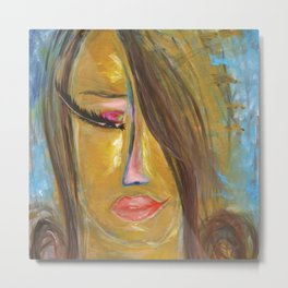 Long Eyelash girl: Abstract Acrylic Painting of an interesting woman Metal Print