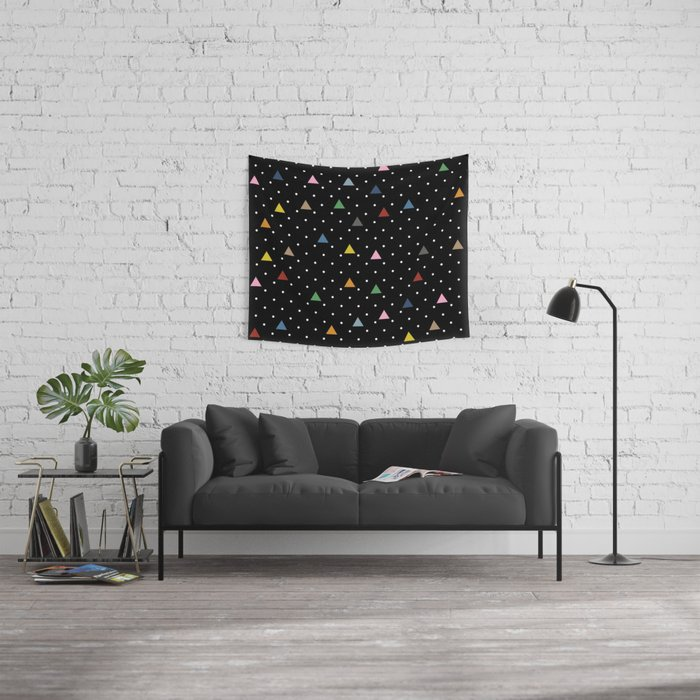 Pin Point Triangles Black Wall Tapestry