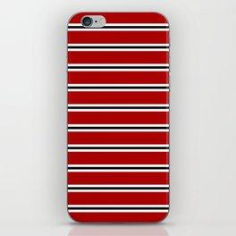 Red, black and white horizontal stripes iPhone Skin