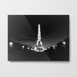 eiffel black and white blur Metal Print