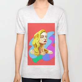 Day Dreaming - Pen and Ink Digitally Colored Unisex V-Neck
