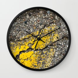 Urban Texture Photography - Road Markings Yellow Arrow Wall Clock