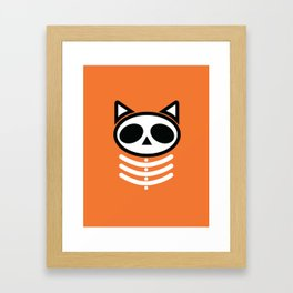 Spooky Skeleton Cat  Framed Art Print