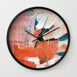 Interrupt [3]: a pretty minimal abstract acrylic piece in pink white and blue by Alyssa Hamilton Art Wall Clock