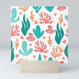 Coral and seaweed seamless pattern on white background. Mini Art Print