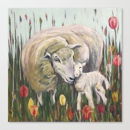 Mama Sheep and baby lamb, I'll stand by Ewe, field of tulips, whimsical nature art Canvas Print