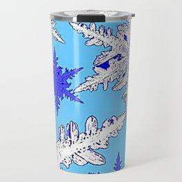 BEAUTIFUL BLUE & WHITE SNOW CRYSTALS  DESIGN Travel Mug