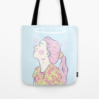 madonna Tote Bags featuring Bubblegum Madonna  by Adam Glab