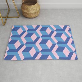 Pink and blues cubes Rug