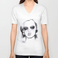 metal V-neck T-shirts featuring Metal. by Rosalie Kate.