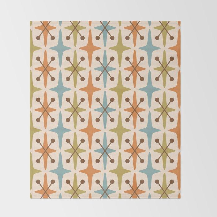 Mid Century Modern Abstract Star Pattern 441 Orange Brown Blue Olive Decke