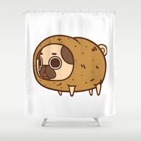 potato Shower Curtains featuring Puglie Potato by Puglie Pug