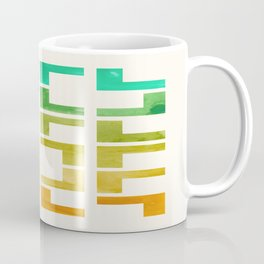Mid Century Modern Geometric Straight Edge Pattern Colorful Watercolor Teal Yellow Ochre Ombre Gradi Coffee Mug